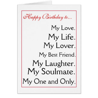 Feliz cumpleaños girlfriend.boyfriend, esposa, tarjeta de felicitación