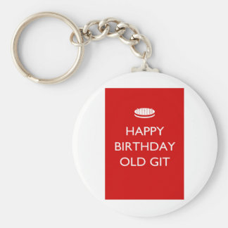 Feliz cumpleaños Git viejo Llavero Redondo Tipo Pin