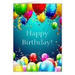 Feliz cumpleaños - globos coloreados azul - tarjeta de felicitación