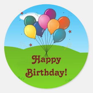 ¡Feliz cumpleaños! Globos de la celebración Pegatina Redonda