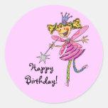 ¡Feliz cumpleaños! (hada rosada) Etiqueta Redonda