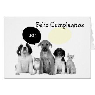 """FELIZ CUMPLEANOS - HAPPY """"30th"""" BIRTHDAY Card"""