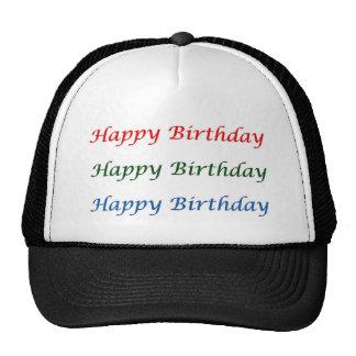 Feliz cumpleaños HappyBirthday - escritura decorat Gorros