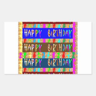 FELIZ cumpleaños HappyBirthday: Escritura Pegatina Rectangular