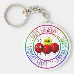 Feliz cumpleaños - hormiga linda con la manzana llaveros personalizados
