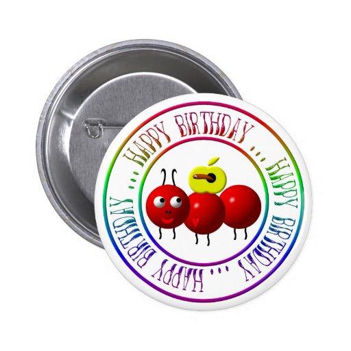 Feliz cumpleaños - hormiga linda con la manzana pin