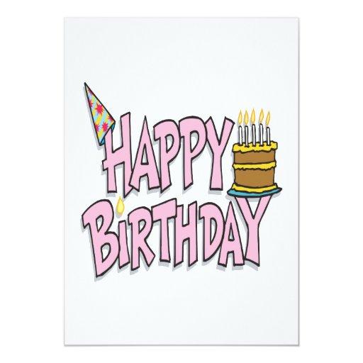 """Feliz cumpleaños invitación 5"""" x 7"""""""