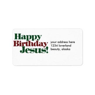 Feliz cumpleaños Jesús es navidad Etiquetas De Dirección
