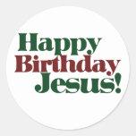 Feliz cumpleaños Jesús es navidad Etiqueta Redonda