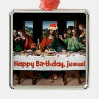 ¡Feliz cumpleaños, Jesús! Ornamento divertido del Adorno Navideño Cuadrado De Metal