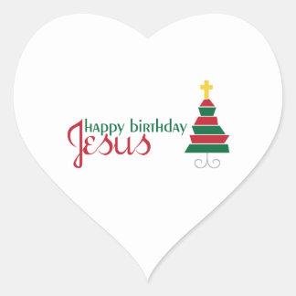 Feliz cumpleaños Jesús Pegatina En Forma De Corazón