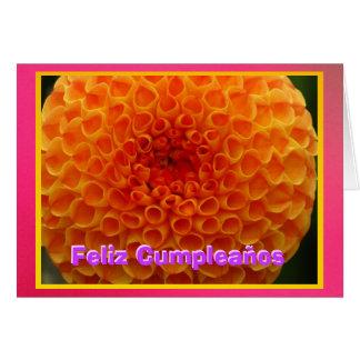 Feliz Cumpleaños - La Dalia Naranja Tarjeta De Felicitación