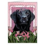 Feliz cumpleaños - Labrador - negro - indicador Tarjetón