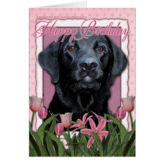 Feliz cumpleaños - Labrador - negro - indicador Tarjeta De Felicitación