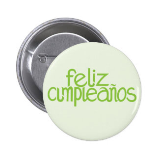 Feliz Cumpleaños lime Button