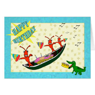 Feliz cumpleaños lindo de los cangrejos y del coco felicitación
