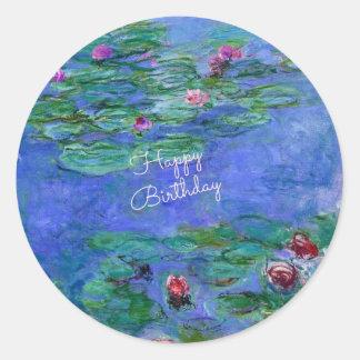Feliz cumpleaños: Lirios del agua de Monet Pegatina Redonda