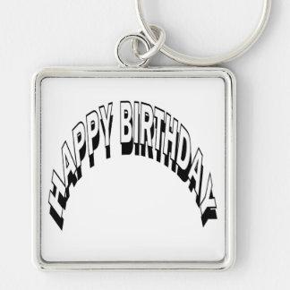 Feliz cumpleaños llavero cuadrado plateado