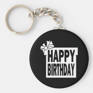 Feliz cumpleaños llavero redondo tipo pin