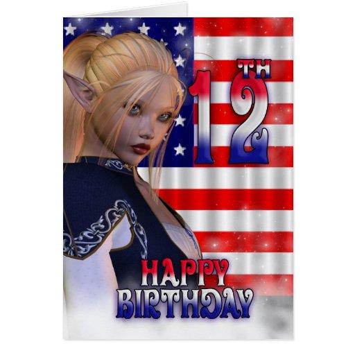 Feliz cumpleaños los E.E.U.U., bandera americana, Tarjeta De Felicitación