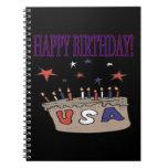 Feliz cumpleaños los E.E.U.U. Libretas Espirales