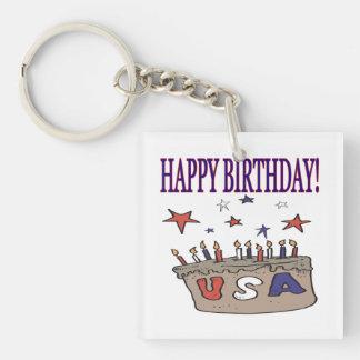 Feliz cumpleaños los E.E.U.U. Llavero Cuadrado Acrílico A Doble Cara