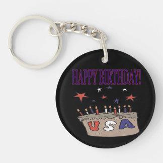 Feliz cumpleaños los E.E.U.U. Llavero Redondo Acrílico A Una Cara
