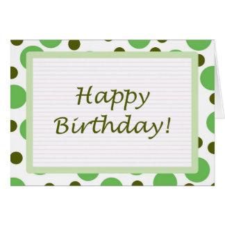 ¡Feliz cumpleaños! Luz verde de los puntos Tarjeta De Felicitación