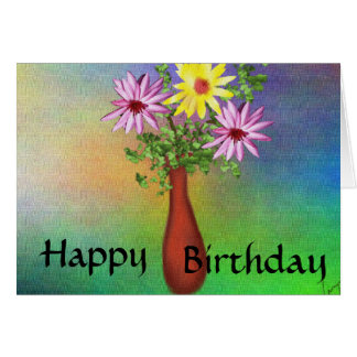 Feliz cumpleaños - maceta tarjeta pequeña