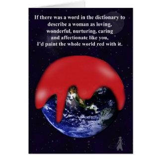 Feliz cumpleaños, mamá: Pinte el mundo rojo Tarjeta De Felicitación