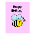¡Feliz cumpleaños! (manosee la abeja) Tarjetas Postales