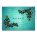 ¡Feliz cumpleaños! - marco de la pluma del pavo Tarjetón