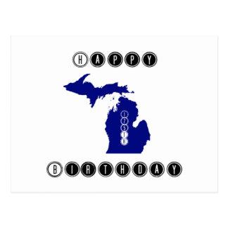 Feliz cumpleaños Michigan Tarjeta Postal