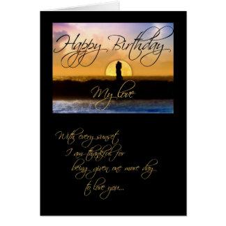 Feliz cumpleaños mis pares de la puesta del sol de tarjeton