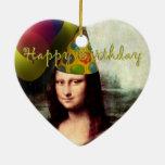 Feliz cumpleaños Mona Lisa Adorno Navideño De Cerámica En Forma De Corazón