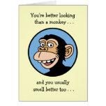 Feliz cumpleaños: Mono del dibujo animado Tarjetas