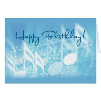 Feliz cumpleaños, música en azul tarjeta de felicitación
