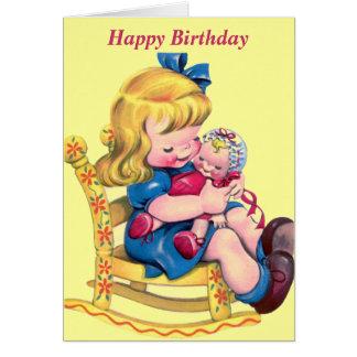 Feliz cumpleaños - niña con la muñeca tarjeta de felicitación