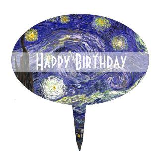Feliz cumpleaños, noche estrellada decoraciones de tartas