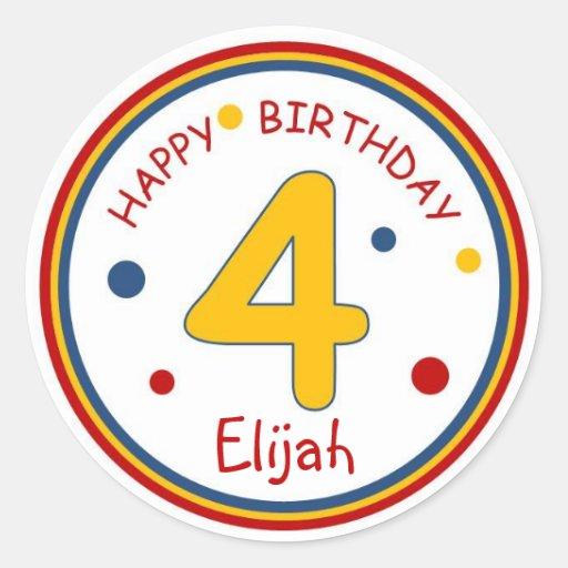 Feliz cumpleaños número 4 de los colores primarios pegatina redonda