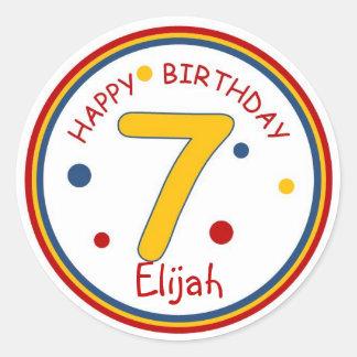 Feliz cumpleaños número 7 de los colores primarios pegatina redonda