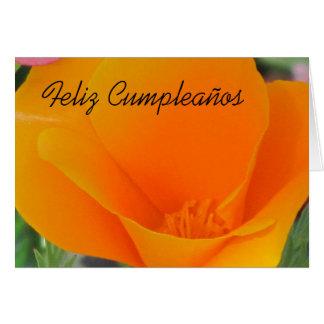 Feliz Cumpleaños - Orange California Poppy Card