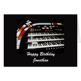 Feliz cumpleaños, órgano antiguo tarjeton