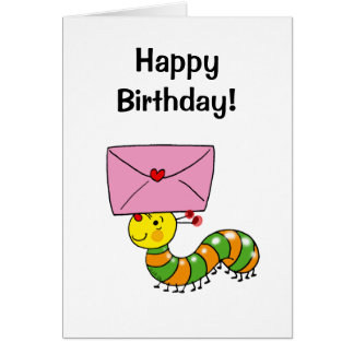 Feliz cumpleaños (oruga) tarjeta de felicitación