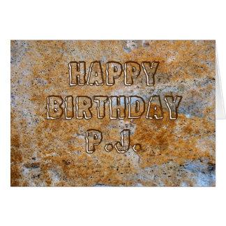 Feliz cumpleaños P.J. de la Edad de Piedra Tarjeta De Felicitación