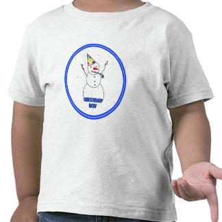Feliz cumpleaños para el muchacho (borde azul) camisetas