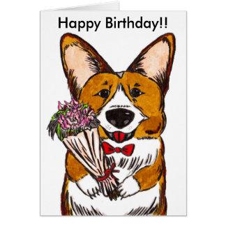 Feliz cumpleaños para los amantes del Corgi Tarjeta De Felicitación