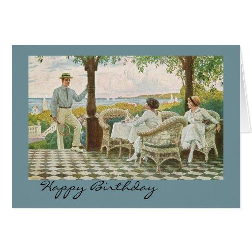 Feliz cumpleaños para los amantes del tenis tarjeta de felicitación