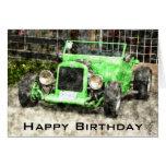 Feliz cumpleaños para servir el coche clásico felicitación