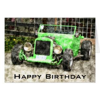 Feliz cumpleaños para servir el coche clásico tarjeta de felicitación